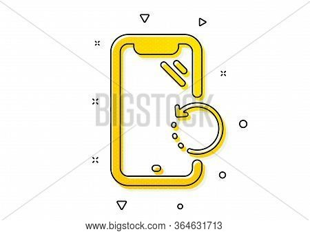 Phone Backup Sign. Smartphone Recovery Icon. Mobile Device Symbol. Yellow Circles Pattern. Classic S