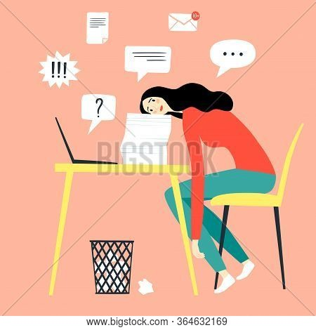 Sad And Tired Woman Working  Alone. Procrastination And Time Management Vector Illustration For Your