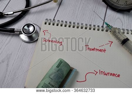 Screening, Treatment, Insurance With Worktool Write On A Book Isolated On Wooden Background. Finance