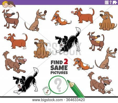 Cartoon Illustration Of Finding Two Same Pictures Educational Task For Children With Dogs Funny Anim