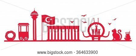 Silhouette Of Ankara, Turkey. The Most Famous Turkish Landmarks In A Row. Modern Horizontal Banner D