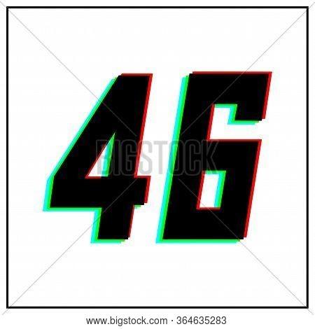 Number 46, Vector Desing Logo.dynamic, Split-color, Shadow Of  Number Red, Green, Blue In Black Fram