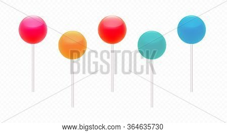 Lollipop, Colourful Dessert Set, Bright Caramel Collection Isolated On Transparent Background. Delic