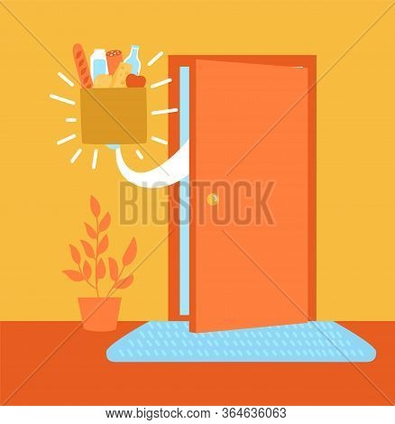 Vector Illustration Safe Grocery Delivery. Apartment Entrance And The Food Bag In The Doorway. Drop