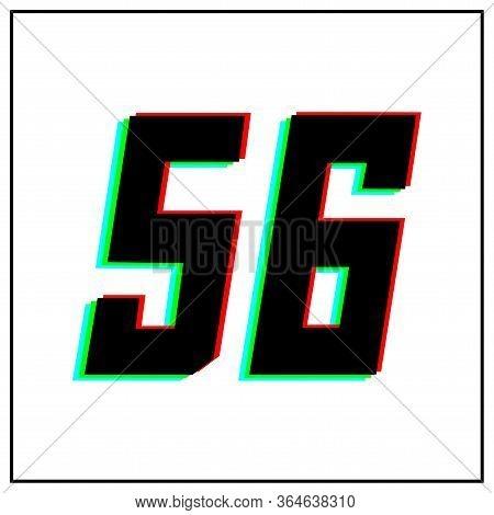 Number 56vector Desing Logo.dynamic, Split-color, Shadow Of  Number Red, Green, Blue In Black Frame