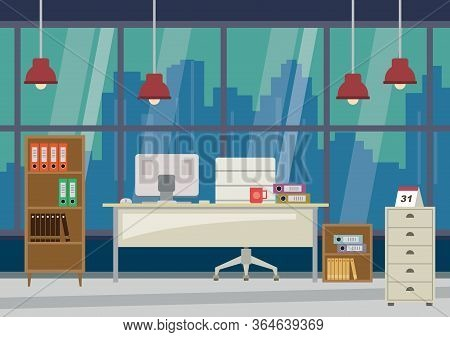 Flat Design Modern Office And Skyscrapers At Background - Vector Illustration