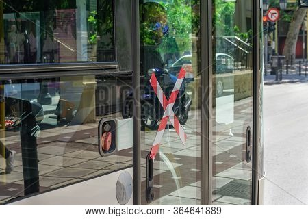 Thessaloniki, Greece - May 4 2020: Public Bus With Covid-19 Precautions No Entrance Sign. Oasth Publ