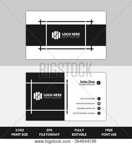 Clean And Corporate Business Card Template, Black And White Color Business Card Template, Ready To P