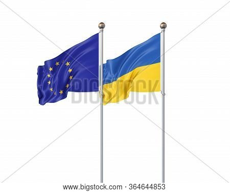 Two Realistic Flags. 3d Illustration On White Background. European Union Vs Ukraine. Thick Colored S