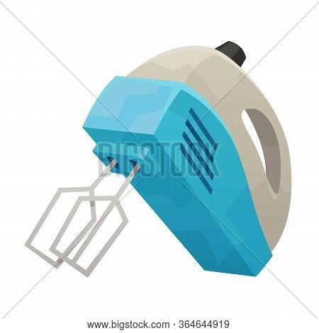 Kitchen Hand Mixer Isolated On White Background Vector