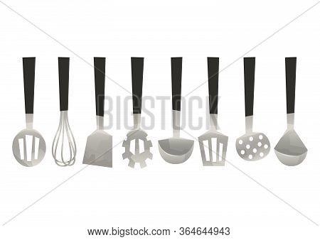 Vector Set Kitchen Utensils Corolla Scoop Spatula Vector