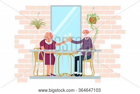 Mature Couple Drinking Wine On The Balcony. Relax And Have A Good Time During The Coronavirus Pandem