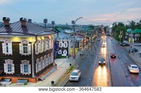 IRKUTSK, RUSSIA - AUGUST 03, 2019:130 Kvartal quarter (Irkutsk Sloboda) is a specially created area of historic buildings in the center of Irkutsk, Russian Federation