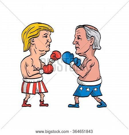 May 4, 2020, Auckland, New Zealand: Cartoon Illustration Of American Presidential Candidate For 2020