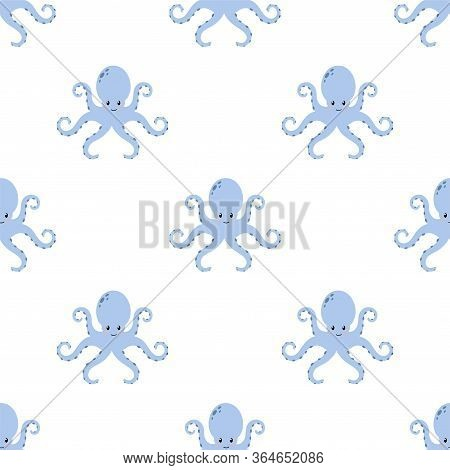 Cute Cartoon Octopus. Colored Seamless Vector Patterns In Flat Style. Isolated Patterns For Notebook