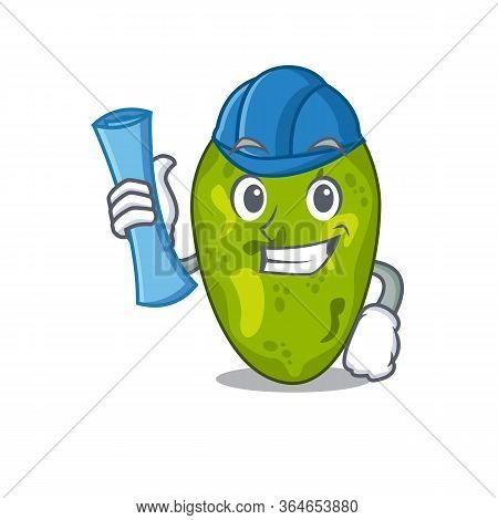 Cartoon Character Of Cyanobacteria Brainy Architect With Blue Prints And Blue Helmet