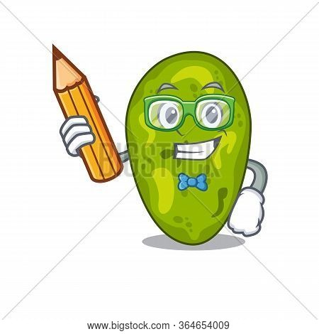 A Brainy Student Cyanobacteria Cartoon Character With Pencil And Glasses