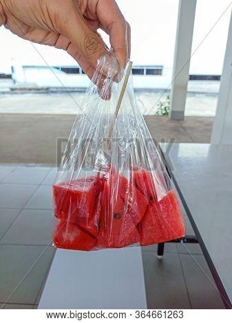 The Fresh Watermelon In A Plastic Bag