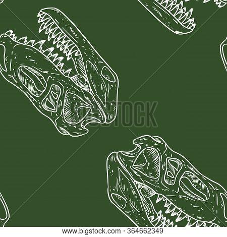 Carnivorous Reptile Dinosaur Fossils Seamless Pattern On Green Chalkboard. Trex Fossilized Skull Cha