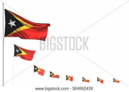 Pretty Timor-leste Isolated Flags Placed Diagonal, Photo With Bokeh And Place For Your Content - Any