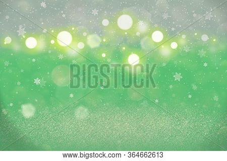 Wonderful Shining Abstract Background Glitter Lights With Falling Snow Flakes Fly Defocused Bokeh -