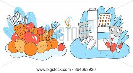Vector Concept Of Natural Vital Elements From Healthy Food - Vegetables And Fruits Versus Chemical M