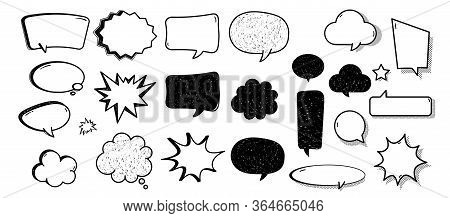 Comic Balloon. Cartoon Comic Speech Bubble Set With Chat Cloud. Retro Message Splash And Ballon Set