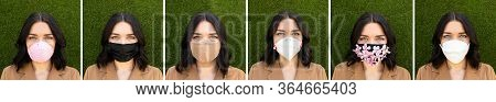 Collage Of Woman Wearing Different Medical Face Masks On Green Background. Virus Protection With Mas