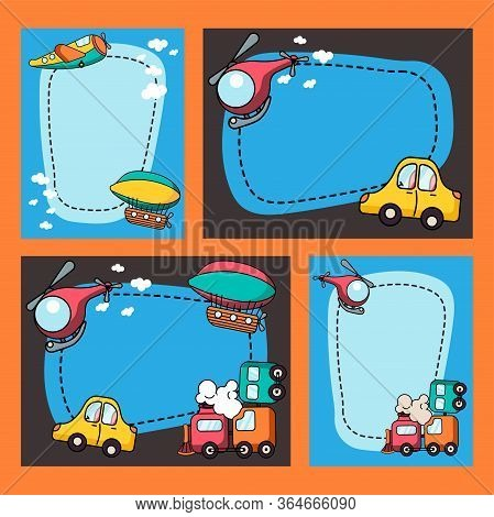 Set Of Border Designs With Cartoon Toy Transports Illustration. Kids Toys For Boys. Colorful Train,