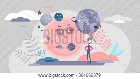Solar System Vector Illustration. Space Planets Flat Tiny Persons Concept. Animated Funny Universe V