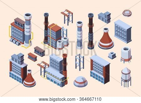 Factory Industrial Buildings Set. Isometric Industrial Blocks, Brown, White Tower Pipes, Concrete Ir