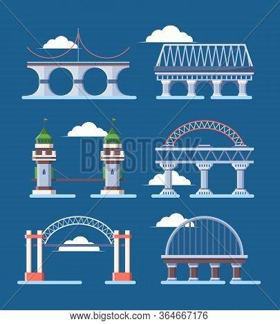 Bridge Architecture Set. Arched Humpbacked City Bridge Industrial Construction Segments Cable Moon C