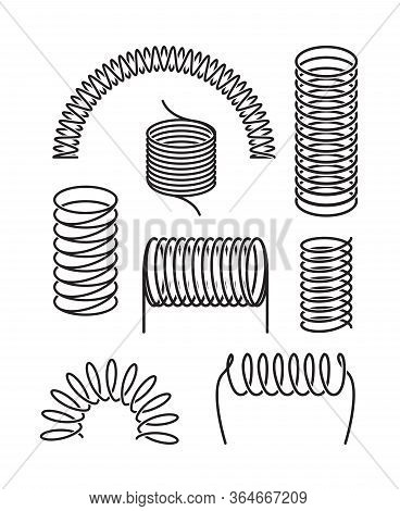 Spring Metal Set. Twisted Spiral Semicircular Coil, Flexible Spring Wire Compressed Under Pressure R