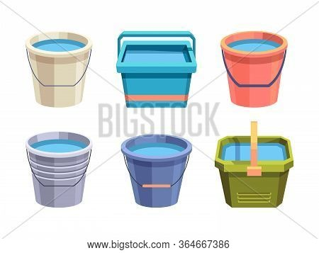 Buckets Set. Metal And Plastic Bucket Volumetric Container With Handle Red Green Blue, Full Of Water