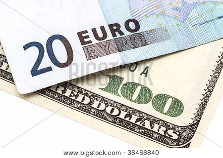 100 USD and 20 EURO isolated on white background