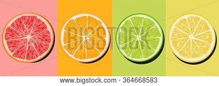 Set Citrus Lime Lime Orange And Grapefruit Cutaway