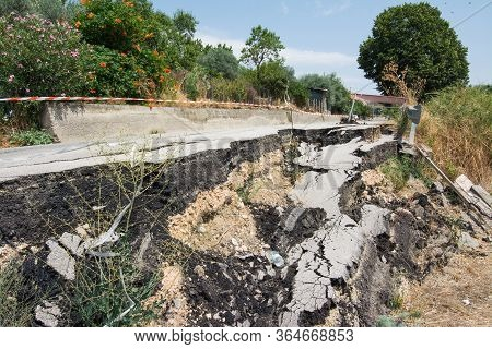 Big Pothole On A National Road In Sicily Caused By Landslide, Carelessness And Abandonment Of Road M