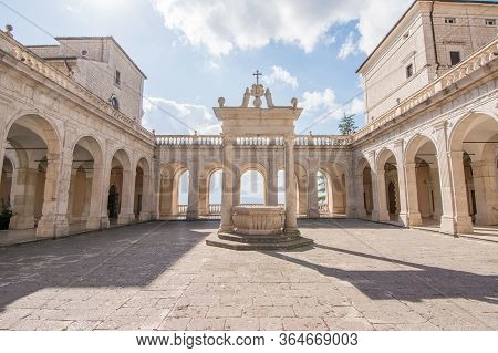 Cloister And Balcony Of Montecassino Abbey, Italy, Rebuilding After Second World War
