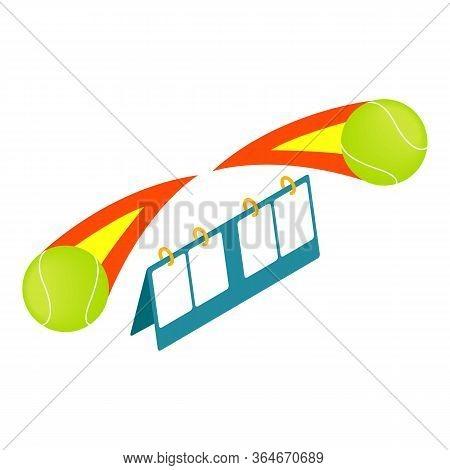 Tennis Scoreboard Icon. Isometric Illustration Of Tennis Scoreboard Vector Icon For Web