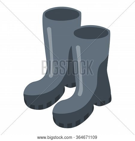 Rainy Boots Icon. Isometric Of Rainy Boots Vector Icon For Web Design Isolated On White Background