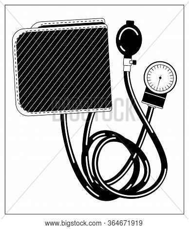 Vector Illustration With Outlines Of Medical Tonometer For Measuring Blood Pressure. Drawing For Web