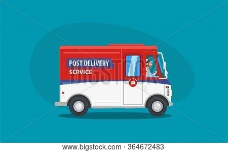 Flat Cartoon Red And Blue Post Or Delivery Van Vehicle With Driver Or Courier On Blue Background. Ex