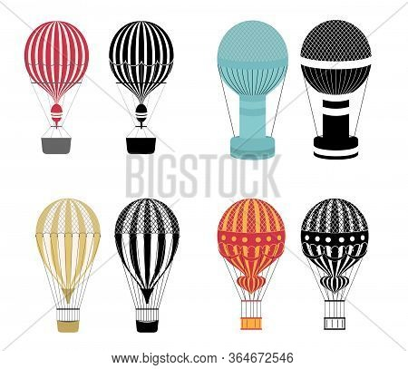 Hot Air Balloons. Colorful And Black And White Aerostat Isolated On White Background. Aerostat Fligh