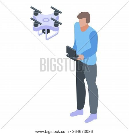 Video Drone Cameraman Icon. Isometric Of Video Drone Cameraman Vector Icon For Web Design Isolated O