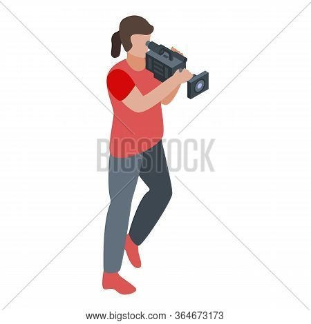 Running Cameraman Icon. Isometric Of Running Cameraman Vector Icon For Web Design Isolated On White