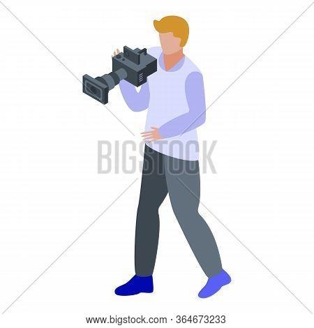 Broadcasting Cameraman Icon. Isometric Of Broadcasting Cameraman Vector Icon For Web Design Isolated