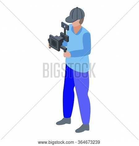 Steadicam Cameraman Icon. Isometric Of Steadicam Cameraman Vector Icon For Web Design Isolated On Wh