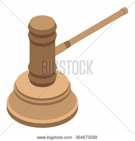 Auction Bid Hammer Icon. Isometric Of Auction Bid Hammer Vector Icon For Web Design Isolated On Whit