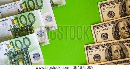 Us Dollar And Euro, Euro Banknotes Close Up. Several Hundred Euro Banknotes, Money Background, Euro