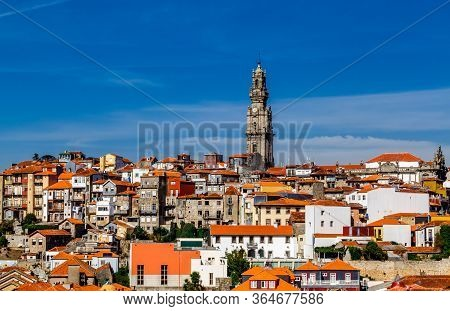 Old Town Porto With Tower Clerigos (torre Dos Clrigos) View With Colorful Houses, Portugal.